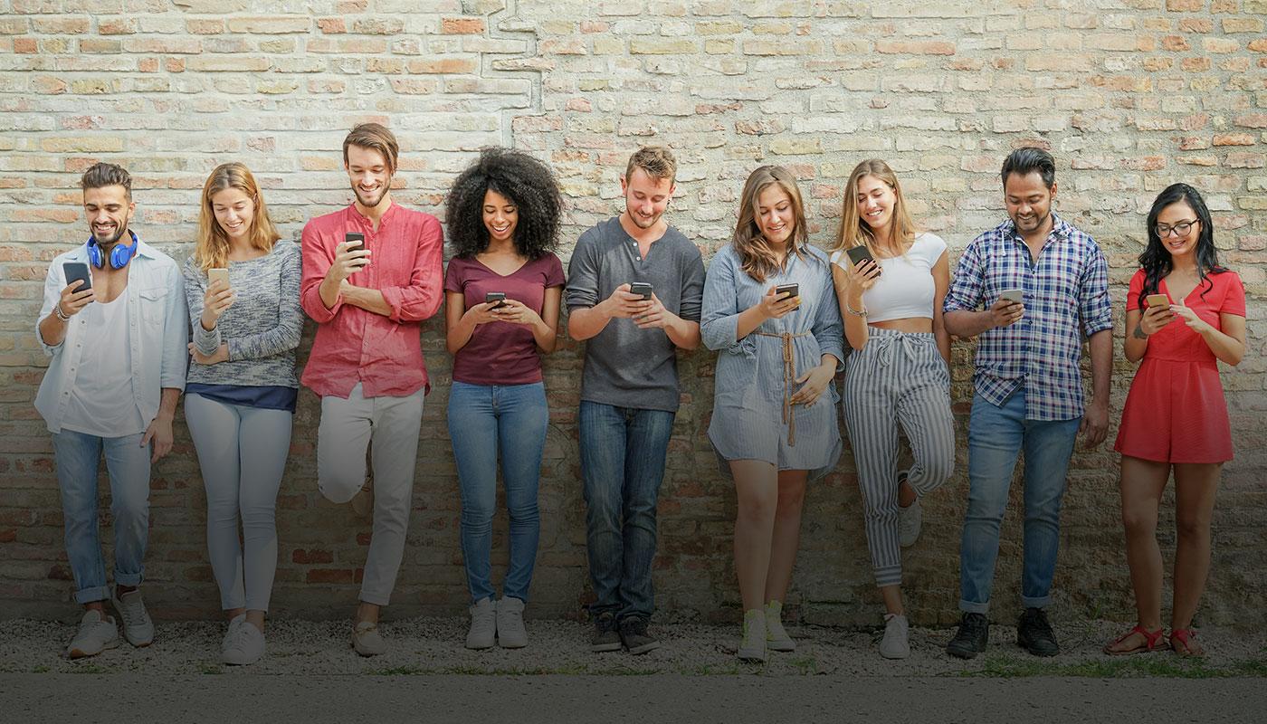 students looking at phones